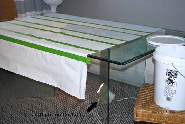 DIY grey and white horizontal striped curtain
