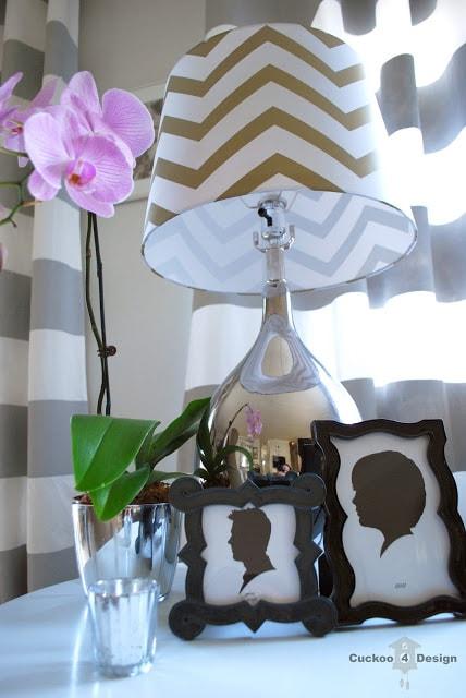 grey and white horizontal stripe curtain