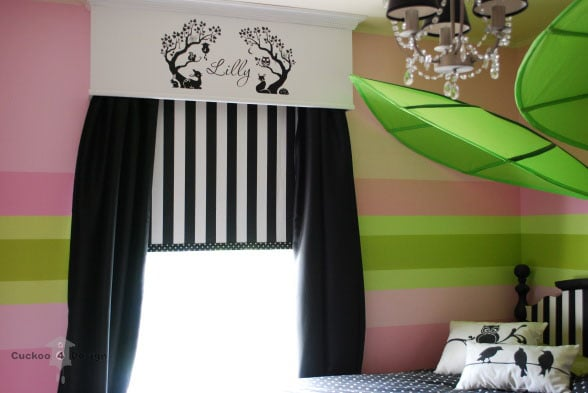 Ikea leaves, black and white stripes and polka dots, vinyl wall decal, chandelier