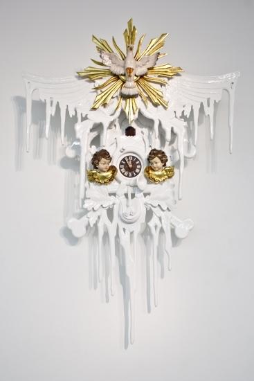 white and gold modern Stefan Strumbel cuckoo clock