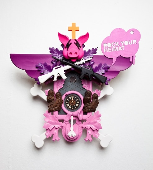 pink and purple modern Stefan Strumbel cuckoo clock