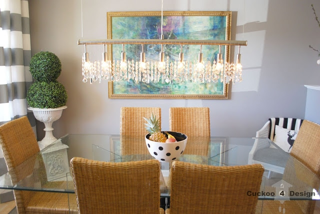 replica of expensive linear crystal chandelier