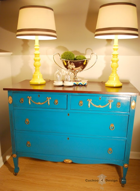 lagoon dresser and pair of yellow lamps