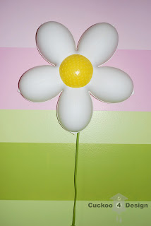 Painted Ikea daisies in pink room
