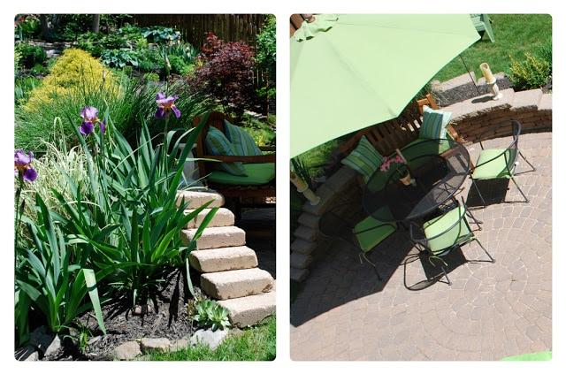 paver patio with lime green Ballard Design cusions