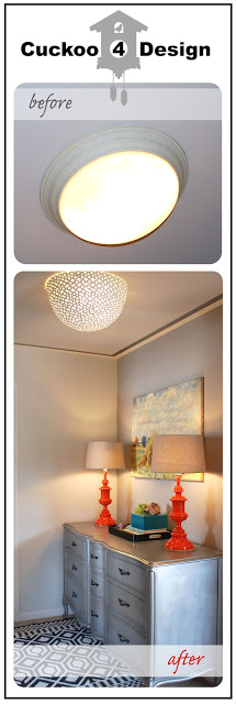 DIY ceiling fixture before and after