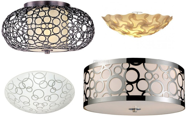 conected metal circle ceiling fixtures