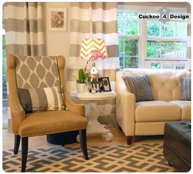 grey horizontal stripe curtains, grey overstock rug, grey wool target pillow