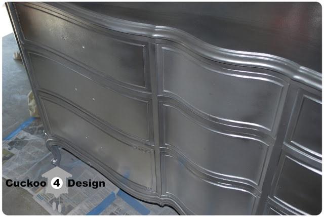 Rustoleum Metallic Silver Spray Painted French Provincial Dresser
