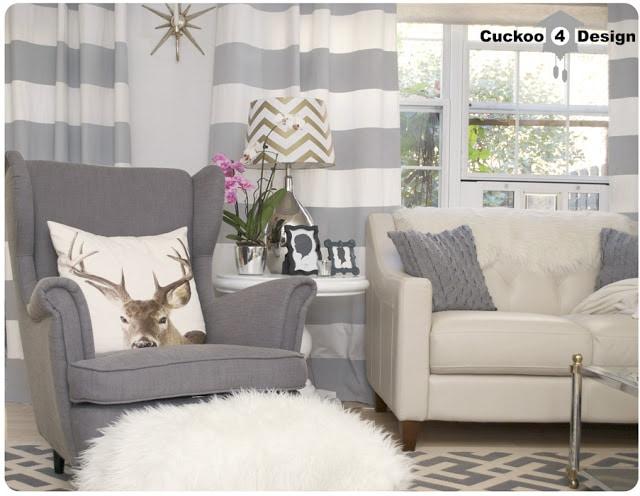 DIY painted grey horizontal striped curtains