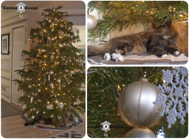 gold, silver, tan and white Christmas tree with cat