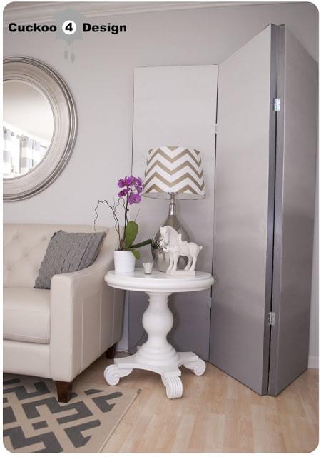 DIY grey ombre room divider, chevron lamp, macy's claudia sofa