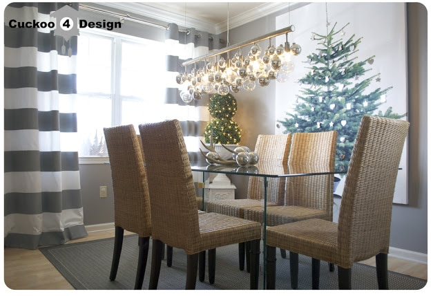 DIY Christmas Ornament cellula chandelier and DIY Ikea Margareta wall art
