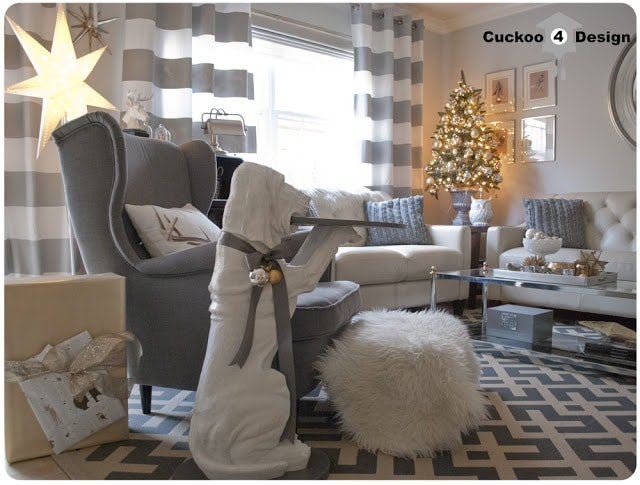 Strandmon chair in grey and white living room