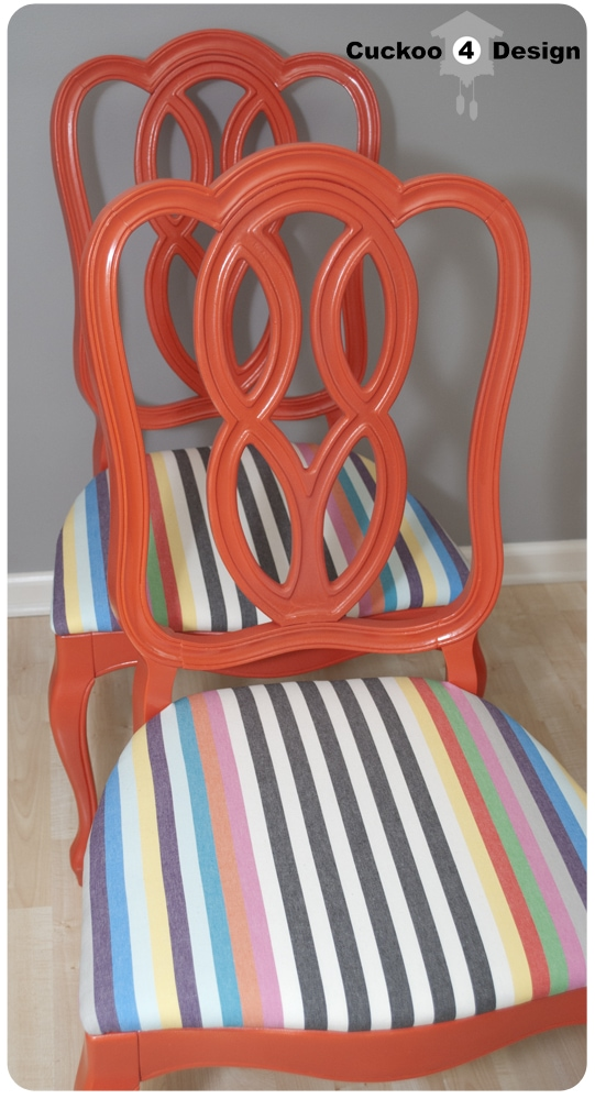 orange and striped chair makeover