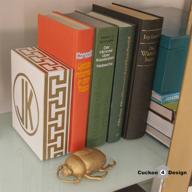 gold and white, monogramed greek key bookend made by cuckoo4design