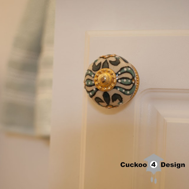 turquoise and gold vanity knob
