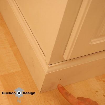 nailing base molding around standard white vanity