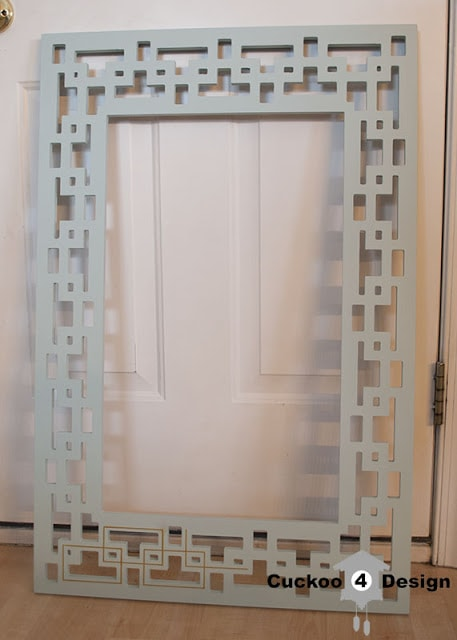 painted greek key mirror in mint and gold