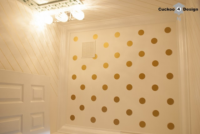 gold Sharpie wallpaper and gold vinyl polka dot ceiling