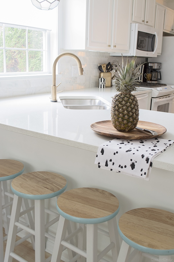 Target painted barstools in white kitchen - Cuckoo4Design