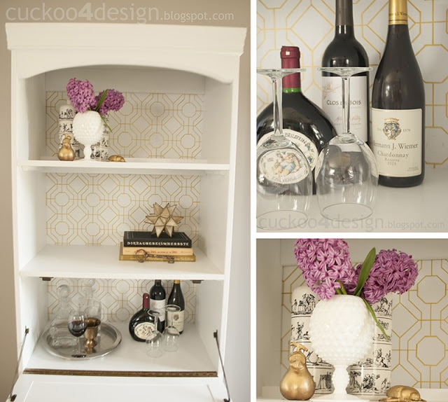 vintage bar makeover with white and gold by cuckoo4design