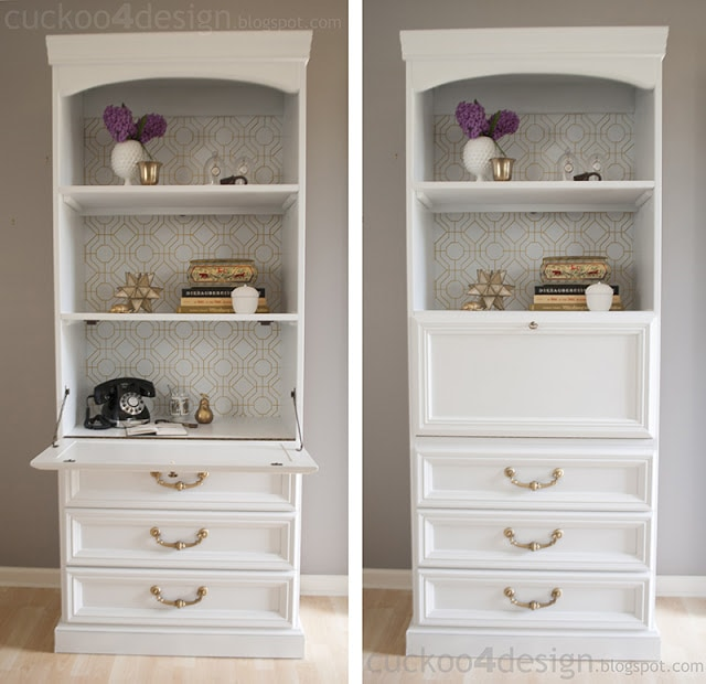 white and gold desk makeover