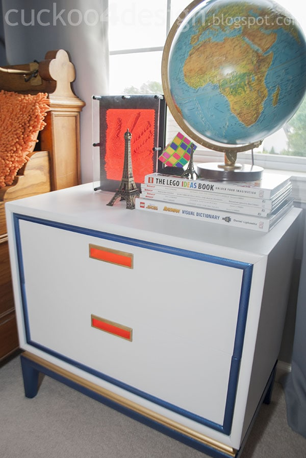 midcentury modern nightstand makeover after by Cuckoo4Design