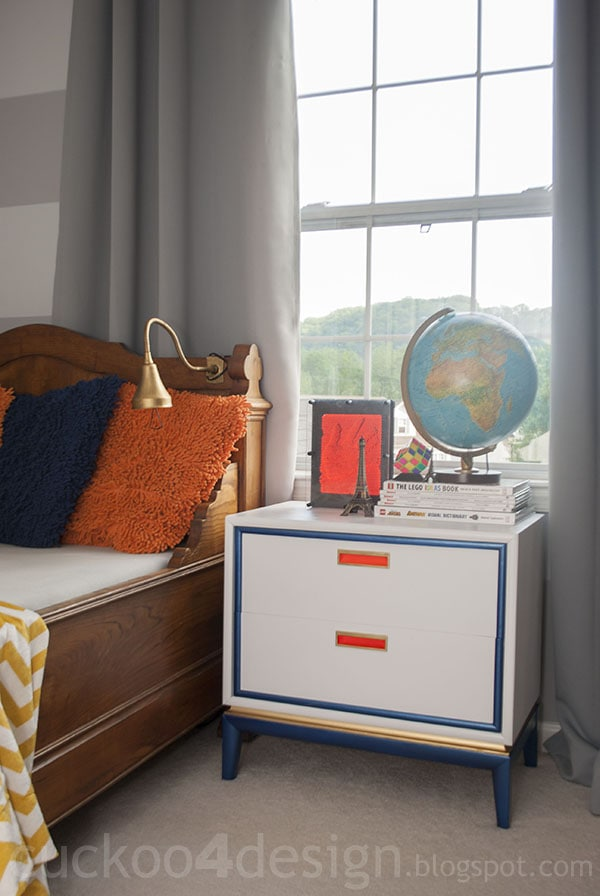 midcentury modern nightstand makeover after painting