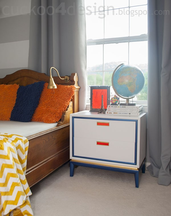 painted midcentury modern nightstand paired with 200 year old french antique bed