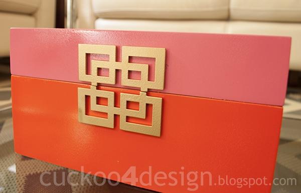 orange, gold and pink box