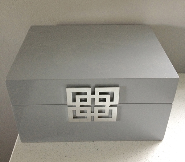 grey and silver box before makeover