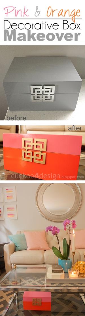 Pink, Orange and Gold Decorative Box Makeover