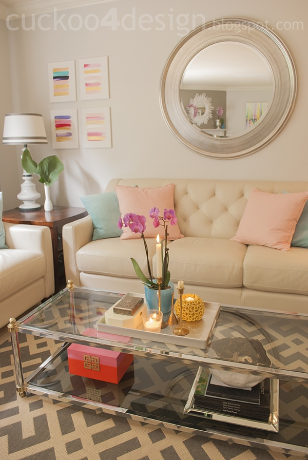 pink, orange and gold accessory for the home