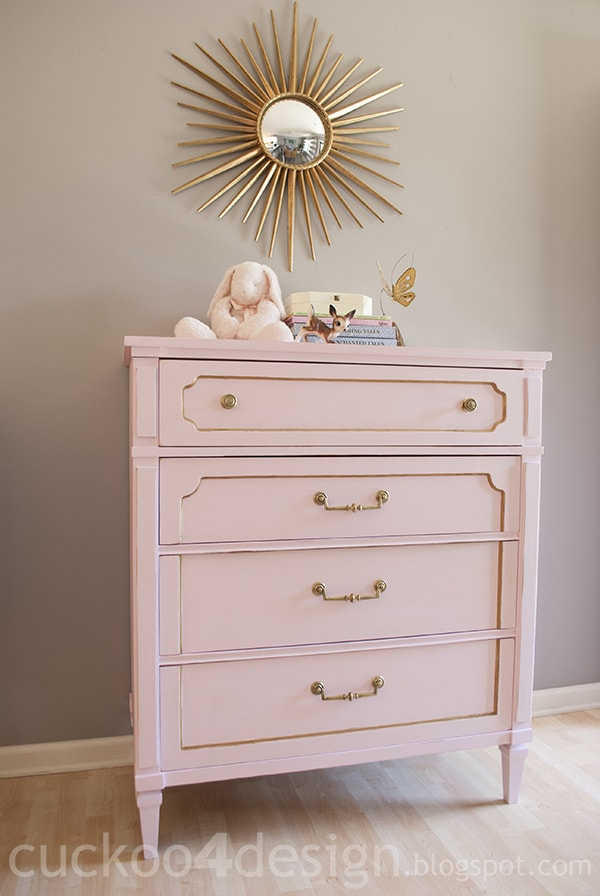 Pink and Gold Chalk Paint Dresser - CuckooDesign
