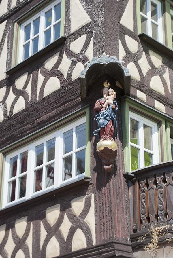 bavarian madonna on half-timbered house