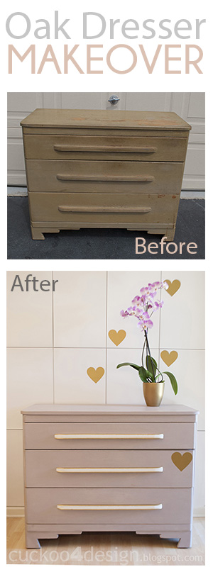 modern rustic oak dresser makeover in grey white and gold by Cuckoo4Desing