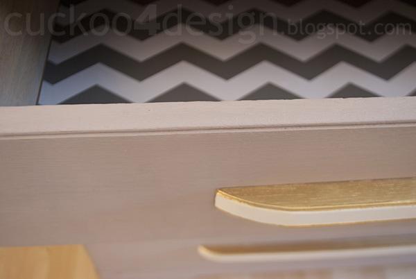 modern oak dresser drawer detail in Annie Sloan Paloma Chalk Paint