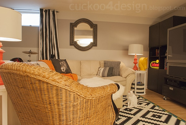 orange yellow black and white room