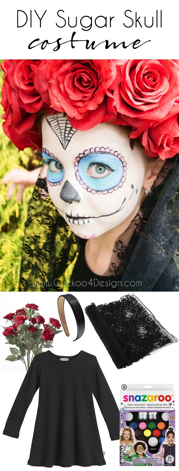Kids DIY Sugar Skull Costume - Day of the Dead costume | Dia de Los Muertos | sugar skull | Kids halloween costume | Homemade costume | cheap costume for kids