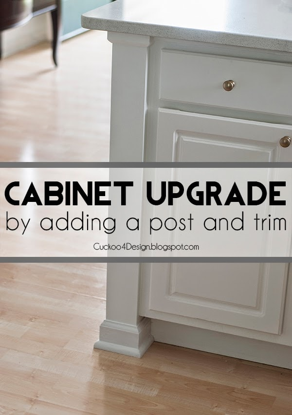 Adding a Kitchen Counter Post and molding to existing builder grade cabinets can give your boring old cabinets a new and expensive look on a budget.