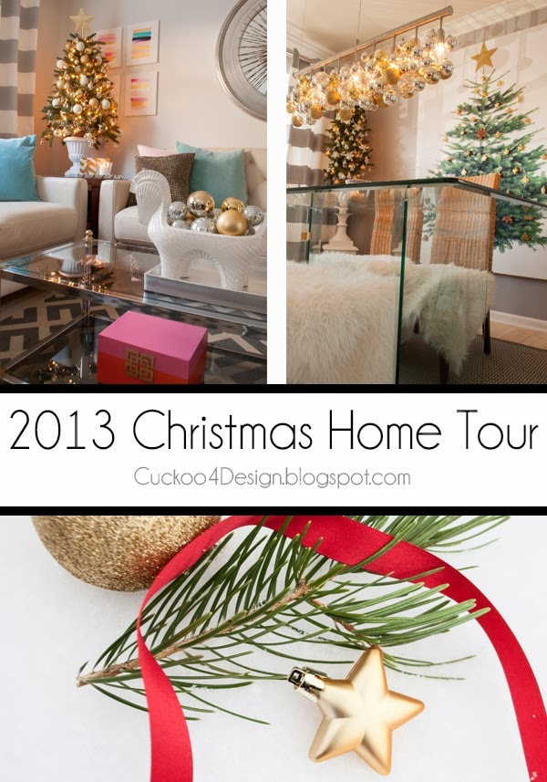 Colorful and stylish Christmas decor in pink, turquoise, white and grey with lots of mixed metallic Christmas ornaments and decor accents