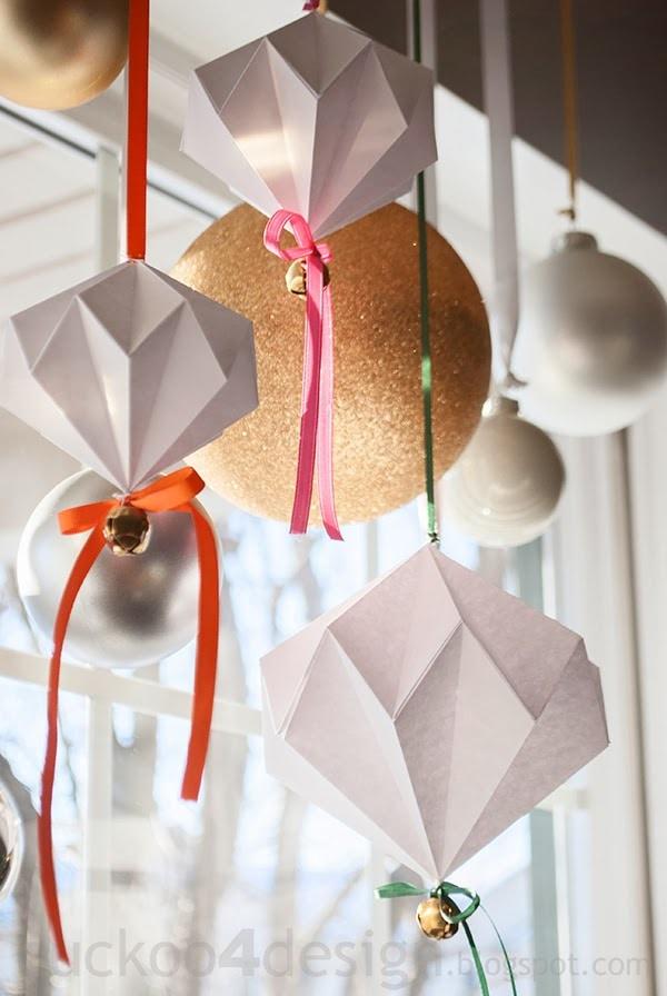 origami paper diamond jingle bell ornaments by cuckoo4design