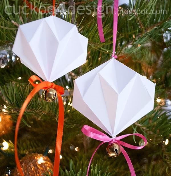 origami paper diamond jingle bell ornaments