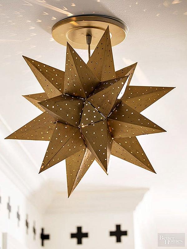 Gold star pendant lantern