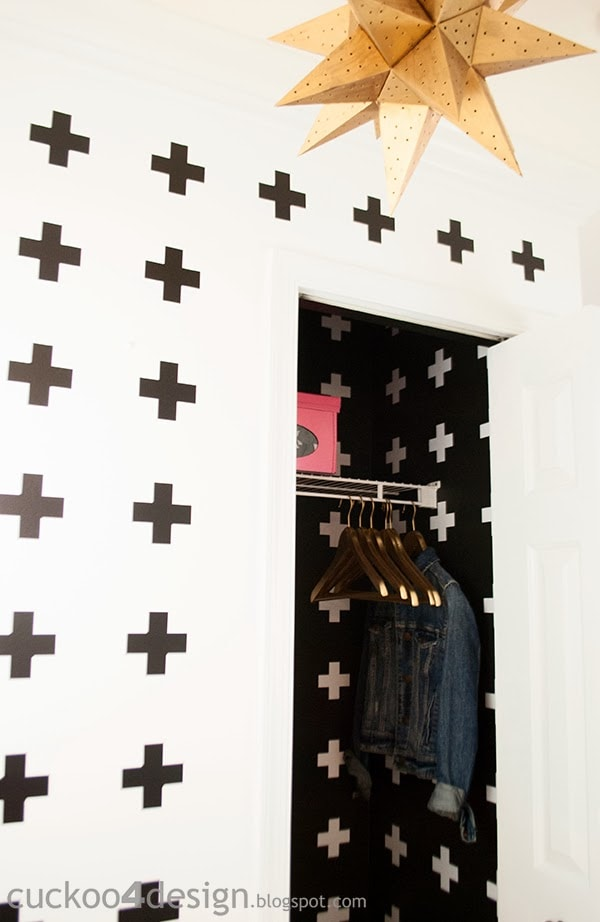 black wall and white cross closet makeover
