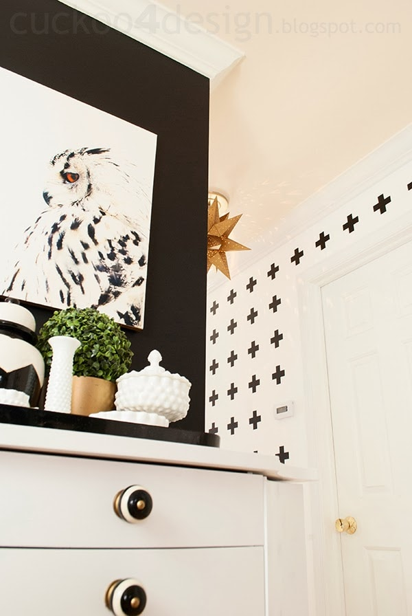 black and white cross wall treatment by Cuckoo4Design