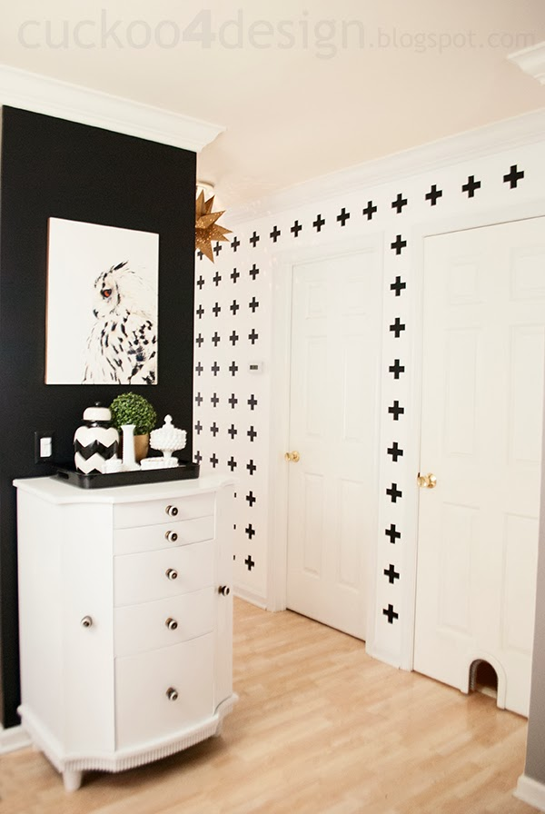 black and white graphic patterned wall treatment by Cuckoo4Design