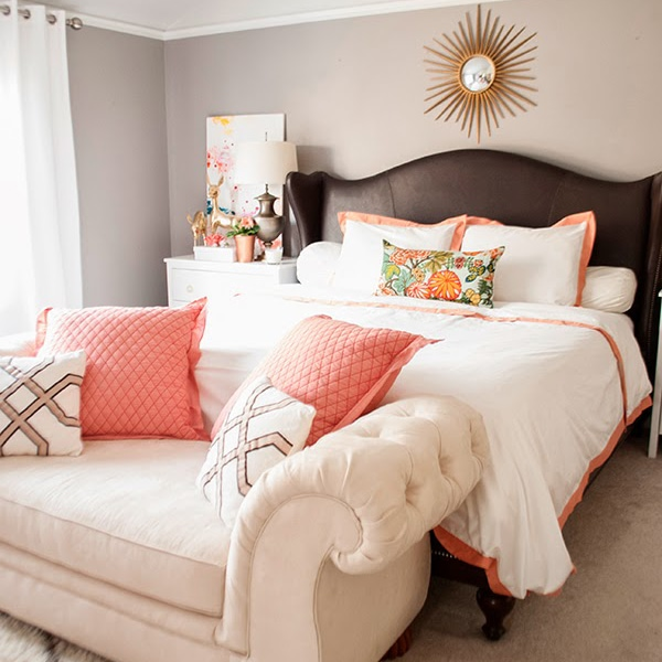copper coral and blush bedroom