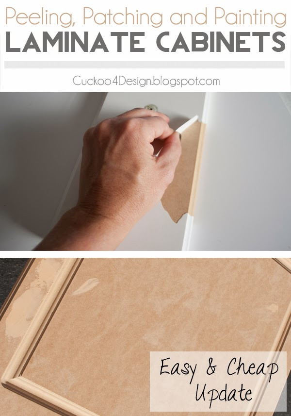 How to peel laminate off kitchen cabinets, patch them and paint them for a brand new look
